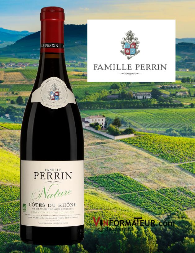 Bouteille de Famille Perrin, Nature, France, Côtes du Rhône, vin rouge bio, 2018