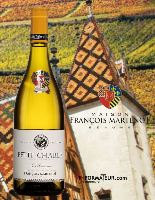 Bouteille de Petit Chablis, Les Ammonites, France, Bourgogne, Chablis, François Martenot, vin blanc, 2020
