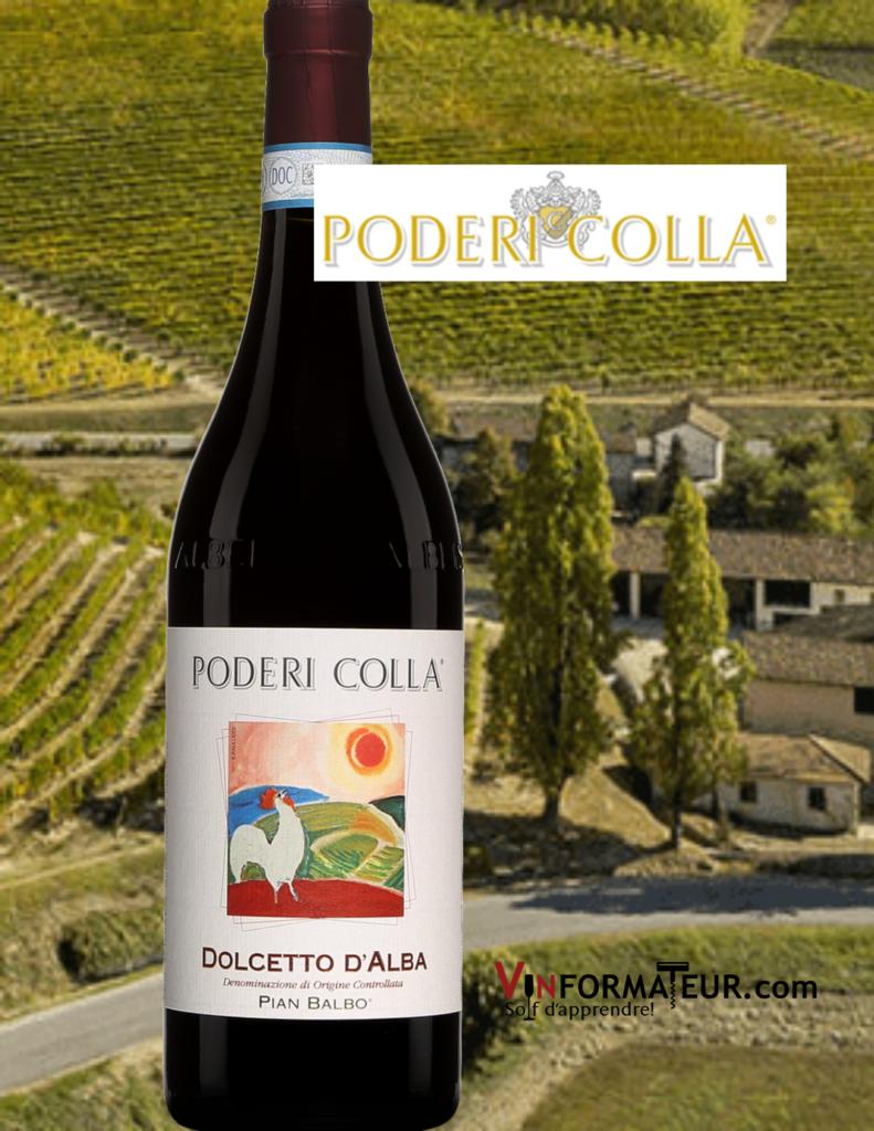 Bouteille de Poderi Colla, Dolcetto d'Alba, Pian Balbo, ''Eticetta Gallo'', Italie, Piémont, vin rouge, 2019 avec vignobles en arrière-plan