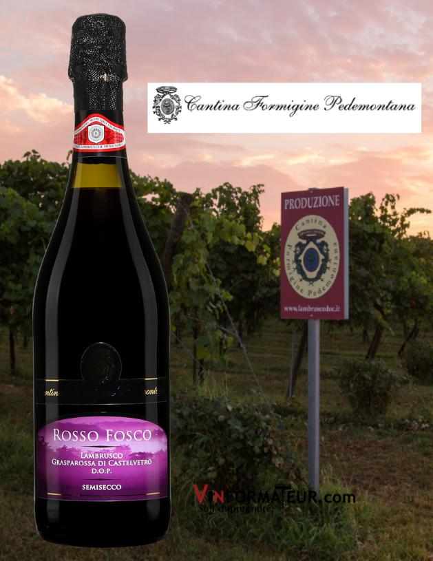 Bouteille de Rosso Fosco, Lambrusco Grasparossa di Castelvetro DOP, Semisecco et vignobles