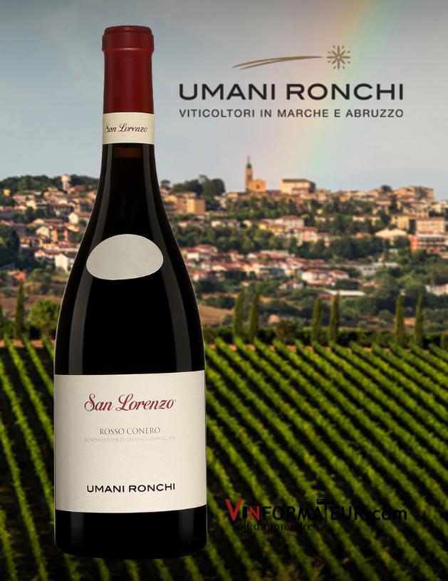Bouteille de San Lorenzo, Rosso Conero DOC, Italie, Les Marches, Umani Ronchi, vin rouge, 2018 avec vignobles en arrière plan