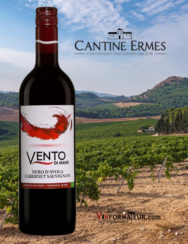 Vento di Mare, Nero d'Avola, Cabernet Sauvignon, Italie, Sicile, Cantine Ermes, vin rouge bio, 2019