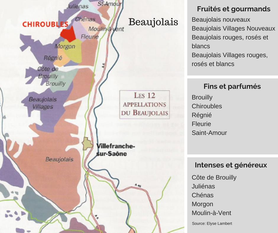 Tableau des Appellations du Beaujolais