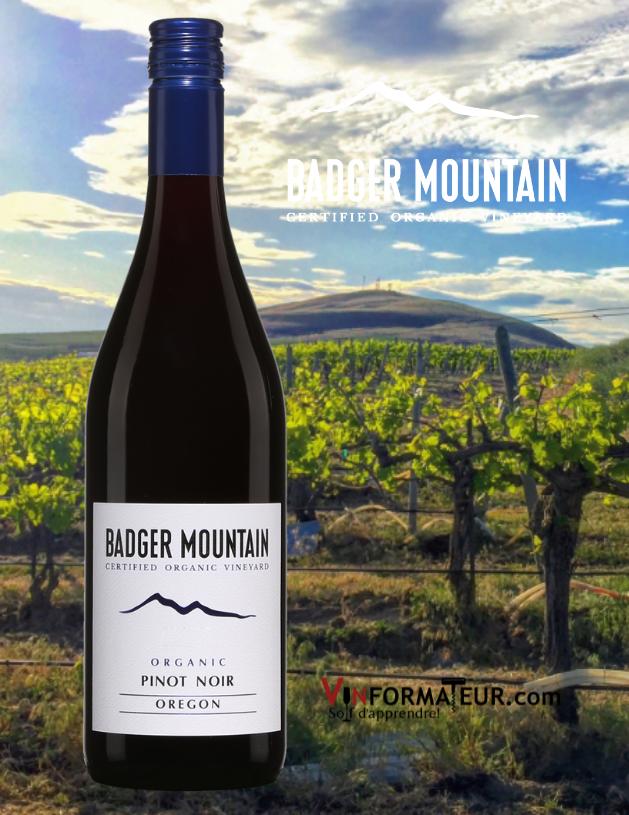 Bouteille de Badger Mountain, Pinot Noir, vin bio sans souffre ajouté, États-Unis, Oregon, 2020 et vignobles