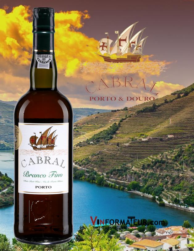Bouteille Cabral Branco Fino, Portugal, Douro avec vignobles en arrière-plan