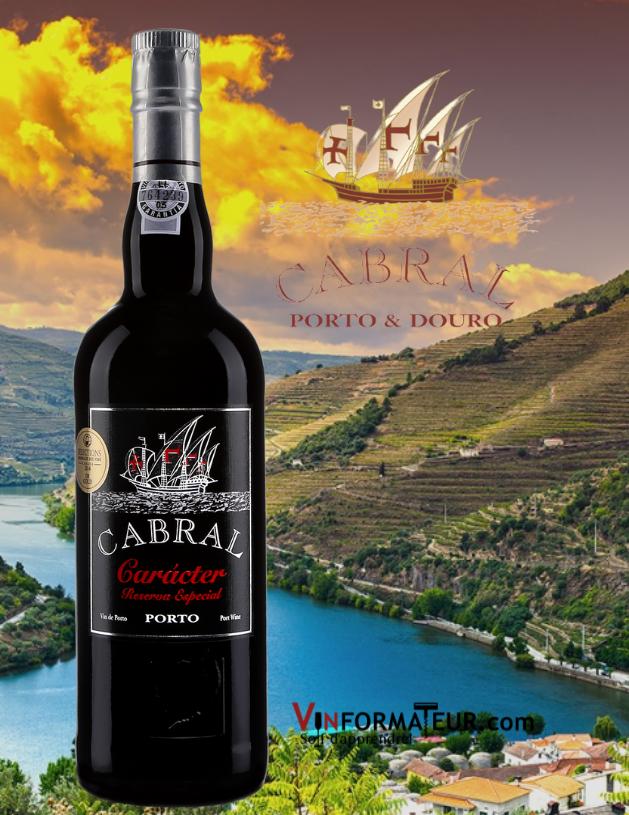 Bouteille de Cabral, Caracter, Reserva Especial, Portugal, Douro avec vignobles en arrière-plan