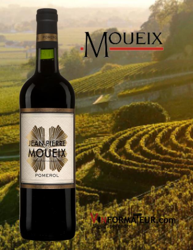 Bouteille de Jean-Pierre Moueix, France Bordeaux, Pomerol, 2018 avec vignobles en arrière-plan