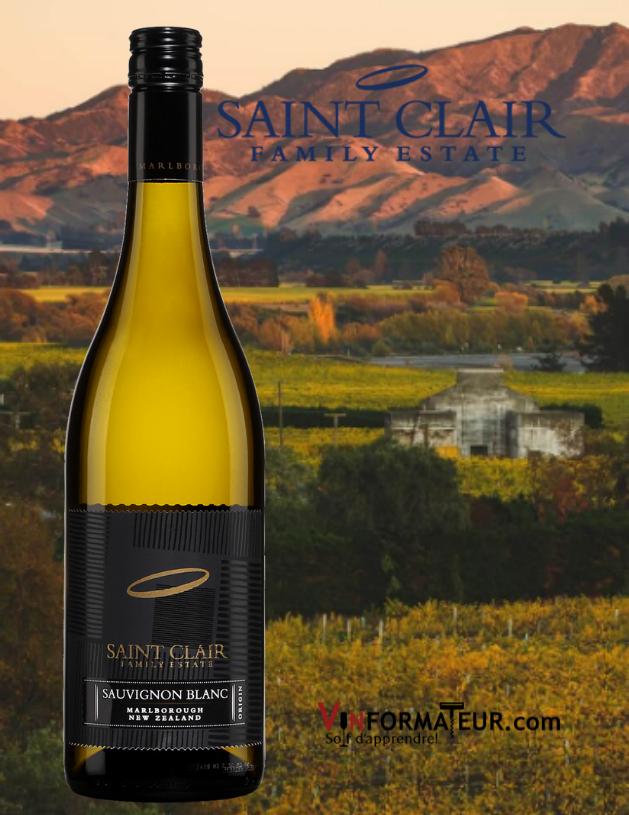 BOuteille de Saint Clair Family Estate, Origin, Sauvignon blanc, Nouvelle-Zélande, South Island, Marlborough, vin blanc, 2020