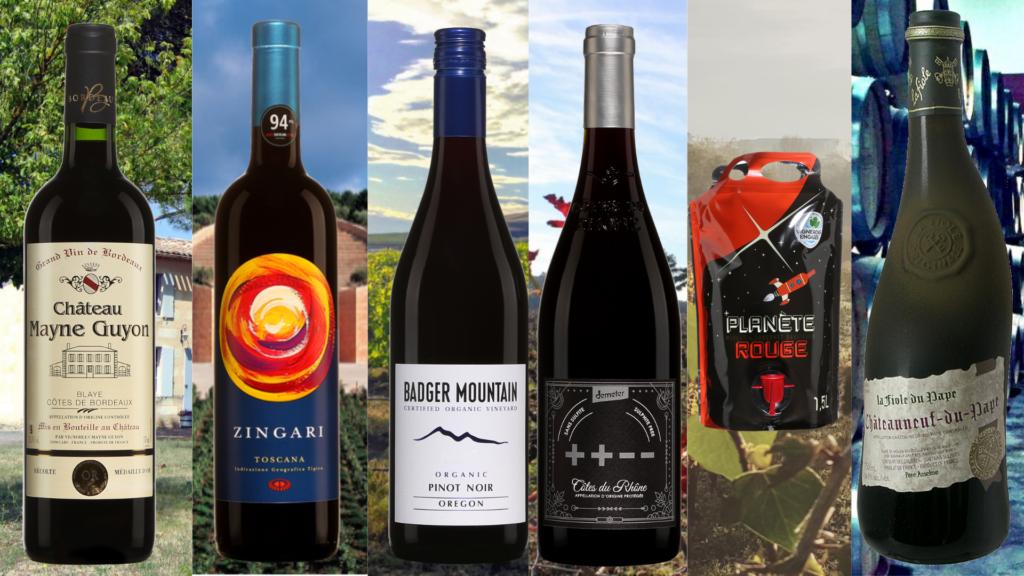 Bouteilles de Château Mayne Guyon, Petra Zingari,Badger Mountain Pinot Noir, La Fiole du Pape, Côtes du Rhône ++--, Planète Rouge Caves de Rauzan