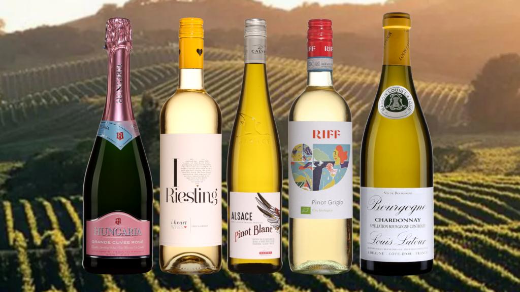 Hungaria, Grande Cuvée, Rosé, Extra Dry, I heart Riesling, Allemagne, Pinot blanc, France, Alsace, Calvet, 2019, Pinot Grigio, Riff 2019 et Chardonnay, Bourgogne, Louis Latour, 2018