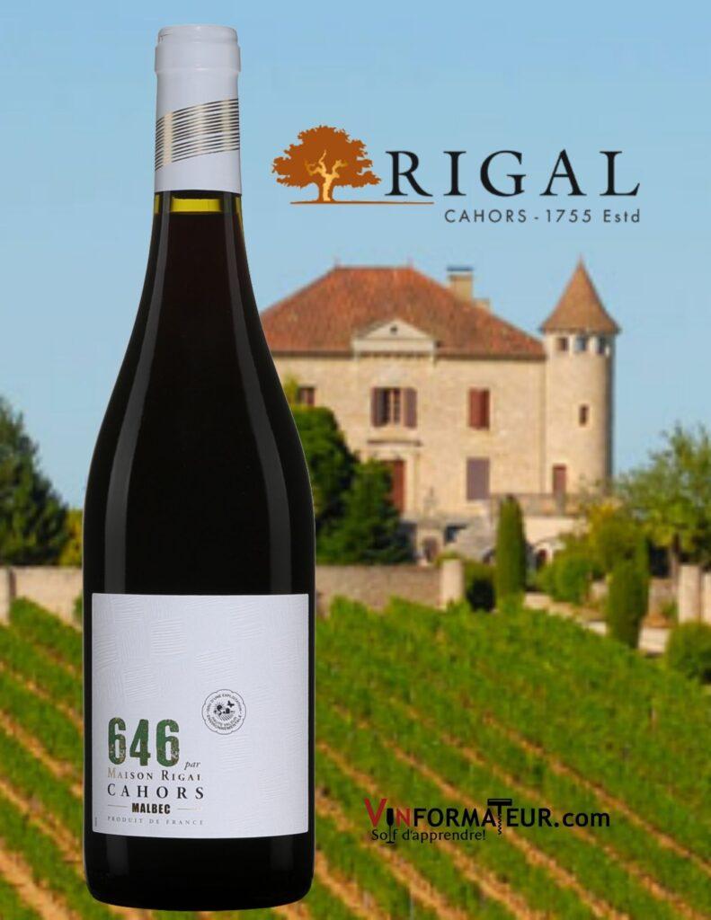 Bouteille de 646, Malbec, Maison Rigal, France, Sud-Ouest, Cahors, 2019 et vignobles