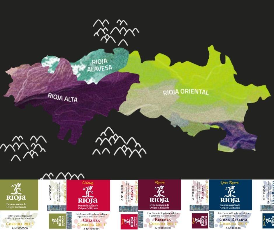 Carte viticole de la Rioja et catégories de vieillissement