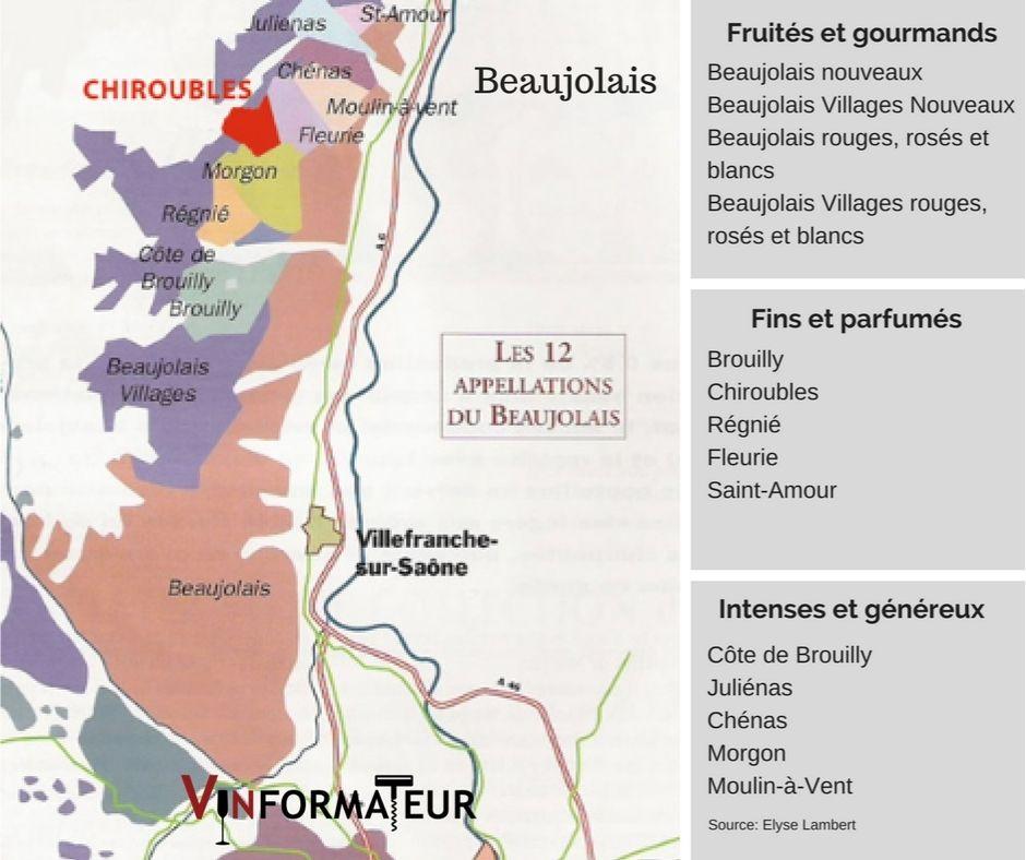 Carte viticole du Beaujolais - source: Elyse Lambert