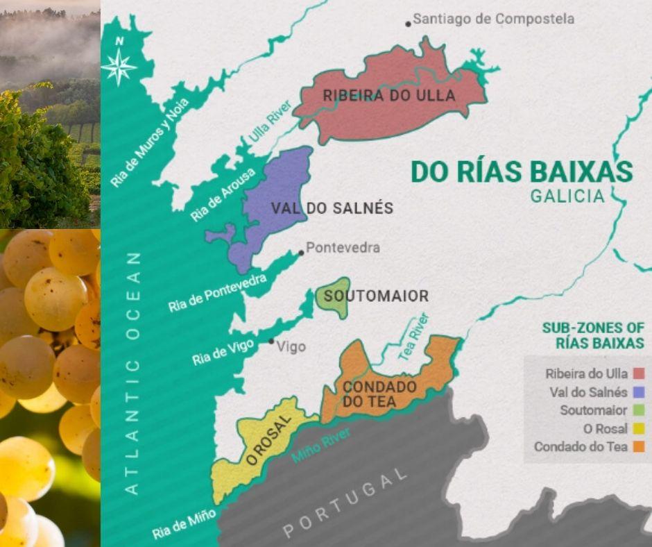 Carte viticole de Rias Baixas, Galice, Espagne