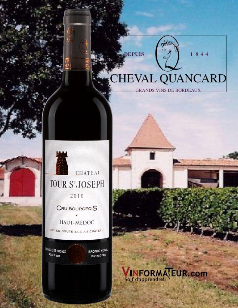 Bouteille de Château Tour Saint-Joseph, Cru Bourgeois, France, Bordeaux, Haut-Médoc, Cheval Quancard, 2015 et chai