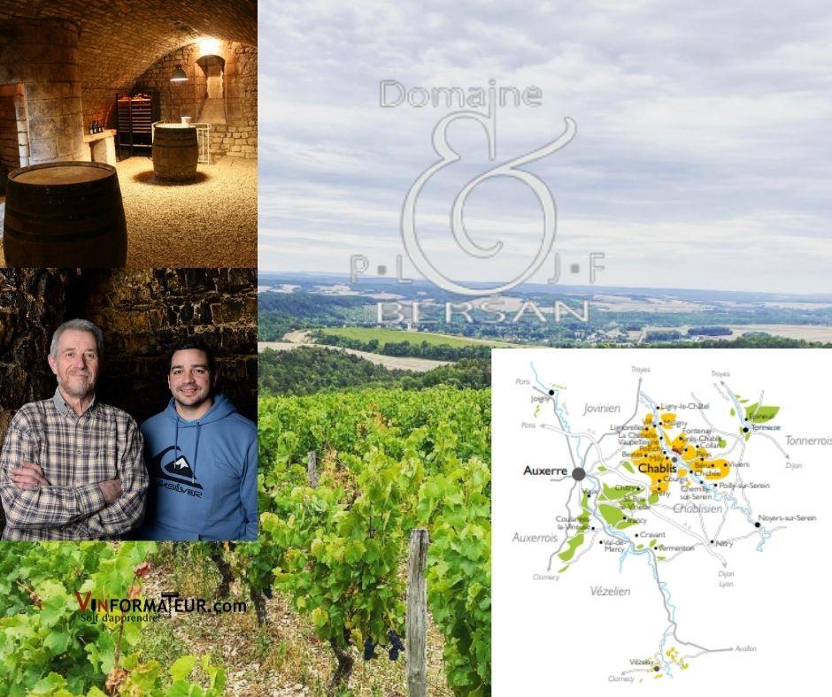 Domaine Bersan, chai, carte viticole et vignerons