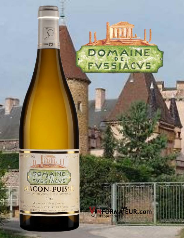 Bouteille de Mâcon-Fuissé, Domaine de Fussiacus, France, Bourgogne, Mâconnais, vin blanc, 2019