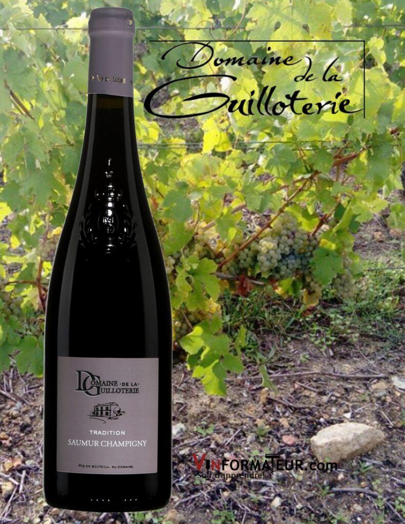 Bouteille de Domaine de la Guilloterie, France, Val de Loire, Saumur-Champigny, Tradition, vin rouge, 2018 et vignobles