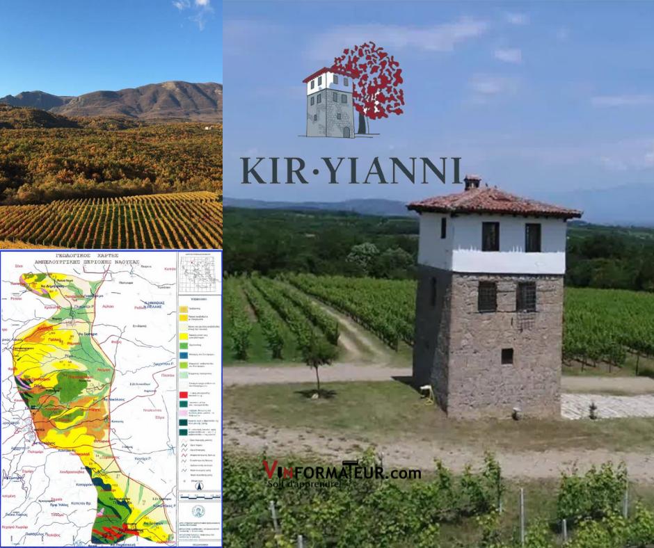 Maison Kir Yianni, carte viticole et vignobles