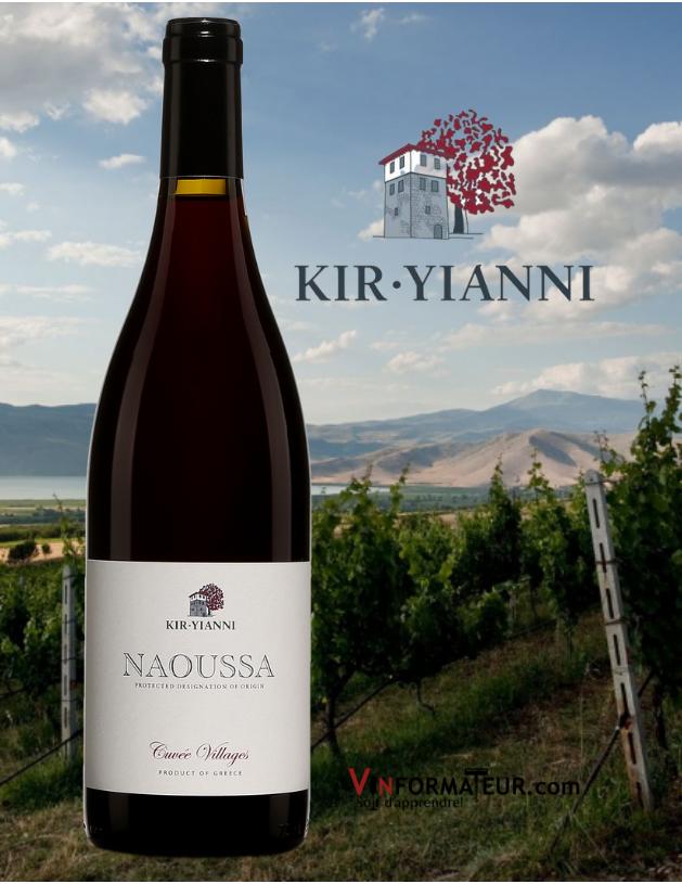Bouteille de Naoussa, Xinomavro, Cuvée Villages, Grèce, Naoussa, Kir-Yianni, vin rouge biodynamie, 2017 avec vignobles