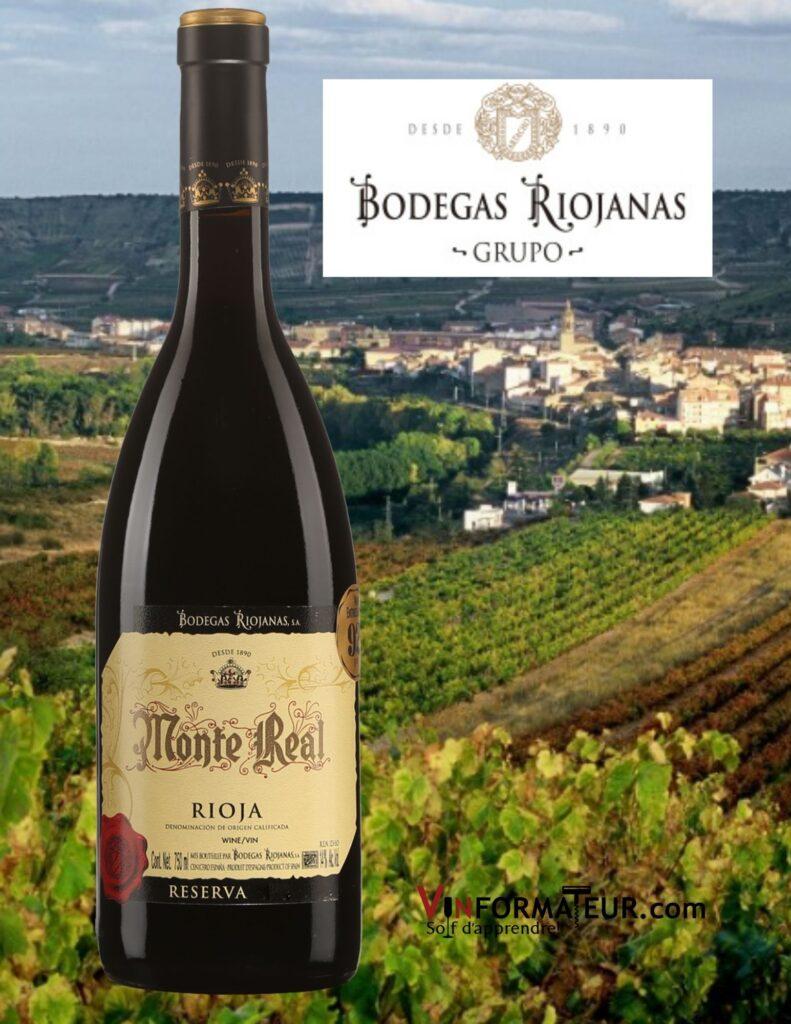 Bouteille de Monte Real, Reserva, Espagne, Rioja Alta, Bodegas Riojanas, 2017 et vignobles