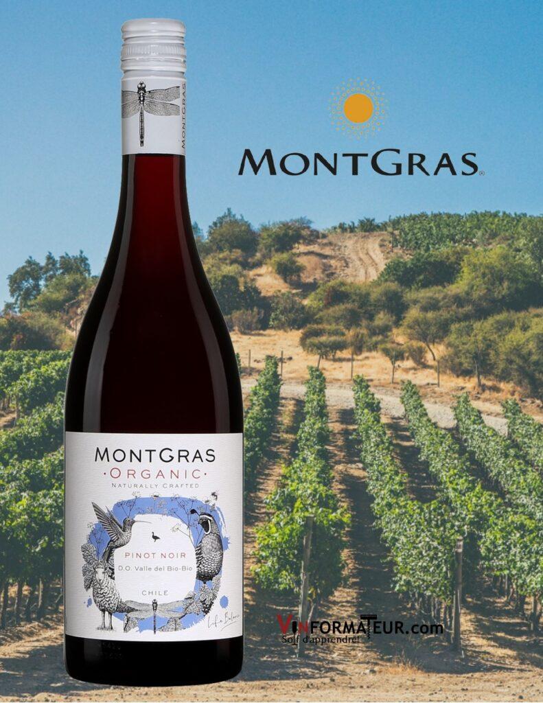 Montgras, Pinot Noir, Organic (vin bio) Chili, D.O. Valle del Bio-Bio, 2020