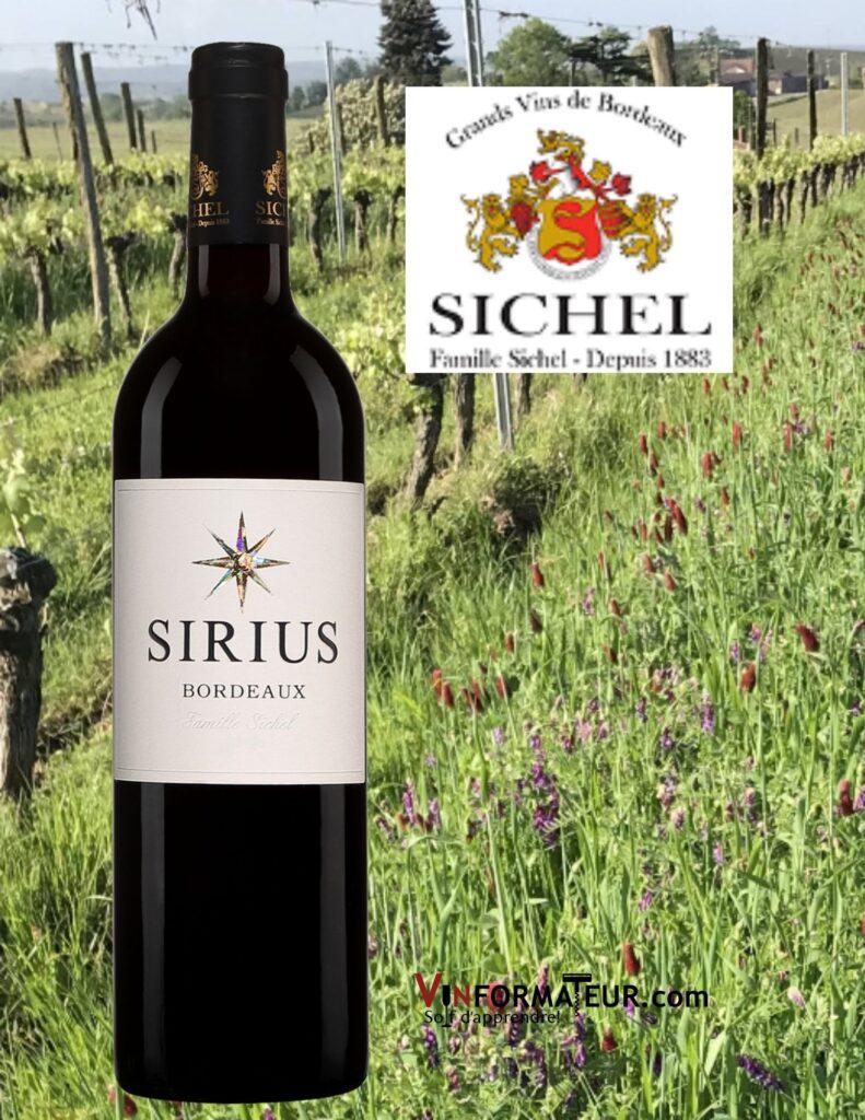 Bouteille de Sirius, Bordeaux, Maison Sichel, 2018 et vignobles