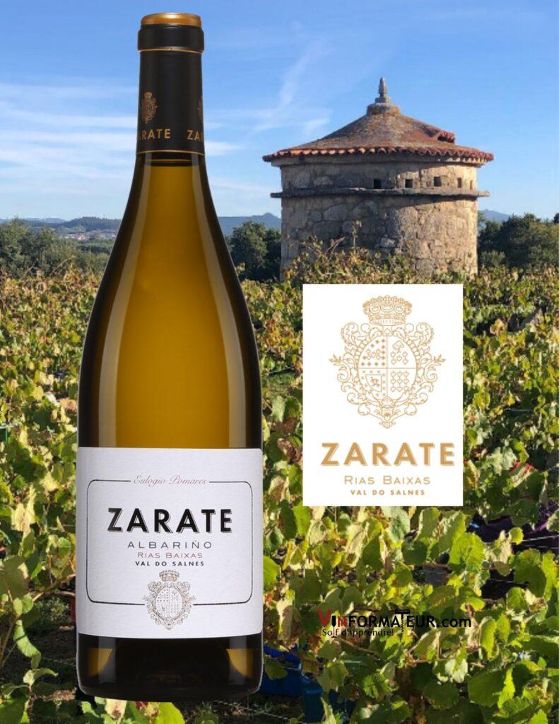 Bouteille de Albarino, Zarate, Eulogio Pomares, Espagne, Rias Baixas, vin blanc, 2020 et vignobles