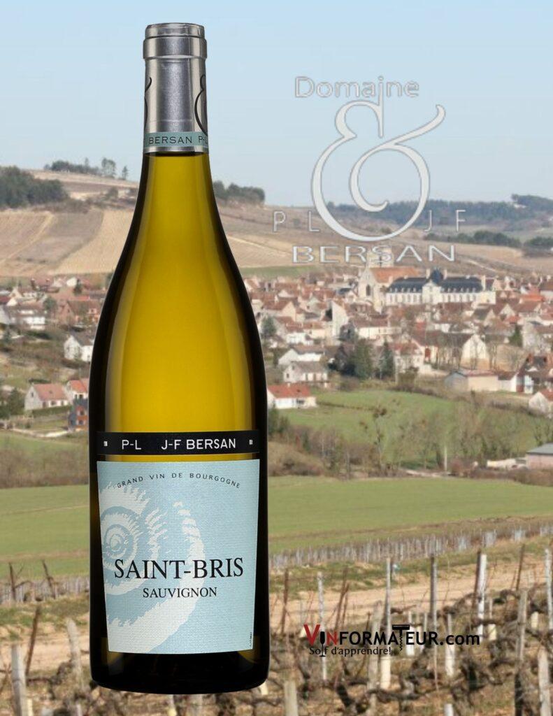 Bouteille de Sauvignon, Saint-Bris, France, Bourgogne et Grand Auxerrois, PL et JF Bersan, vin blanc, 2017 et vignoble