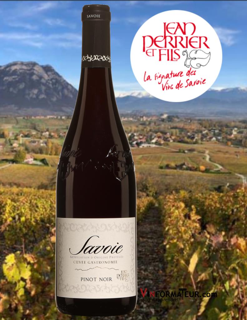 Bouteille de Savoie, Cuvée Gastronomique, Pinot Noir, vin rouge, France, Jean Perrier et Fils, 2020 et vignobles