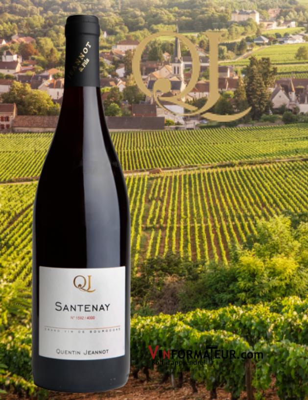 Bouteille de Santenay, Quentin Jeannot, Vieilles Vignes, Bourgogne, 2019 avec vignobles
