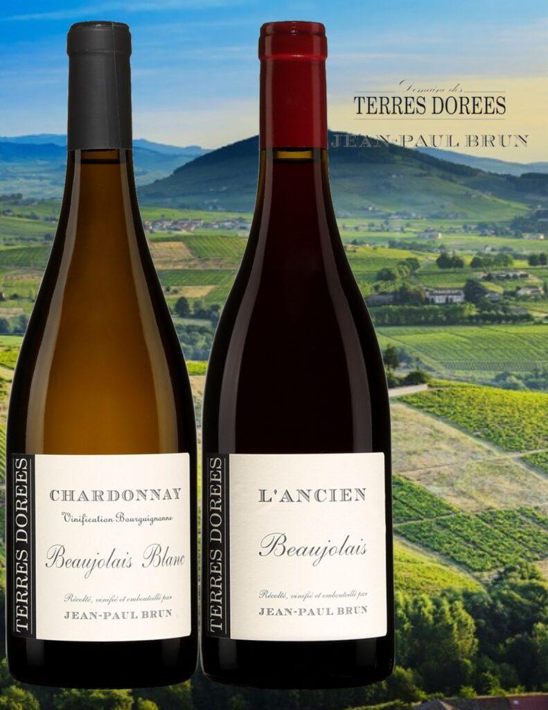 Bouteilles de Jean-Paul Brun, Beaujolais blanc, Chardonnay, 2019, L'Ancien, Beaujolais, Terres Dorées, 2019 avec vignobles
