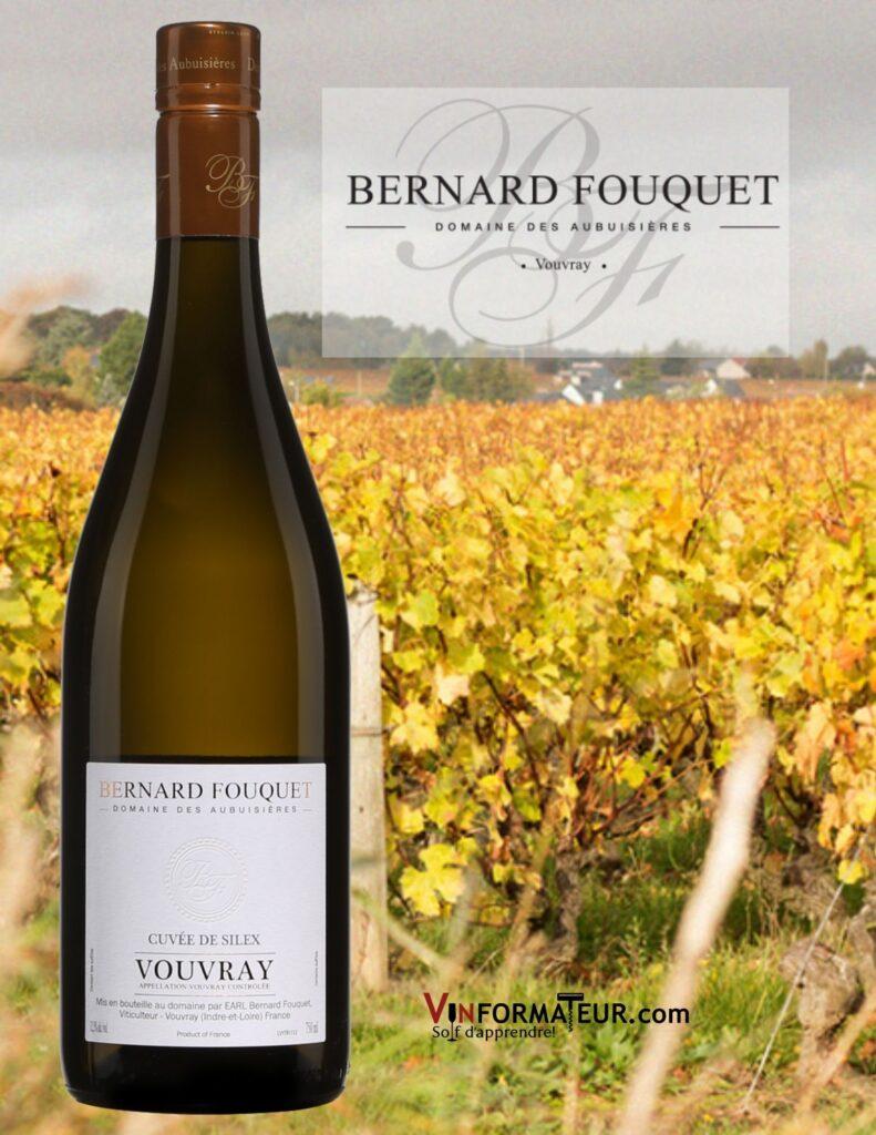 Bouteille de Cuvée de Silex, Domaines des Aubuisières, Bernard Fouquet, Val de Loire, Vouvray, 2019 avec vignobles
