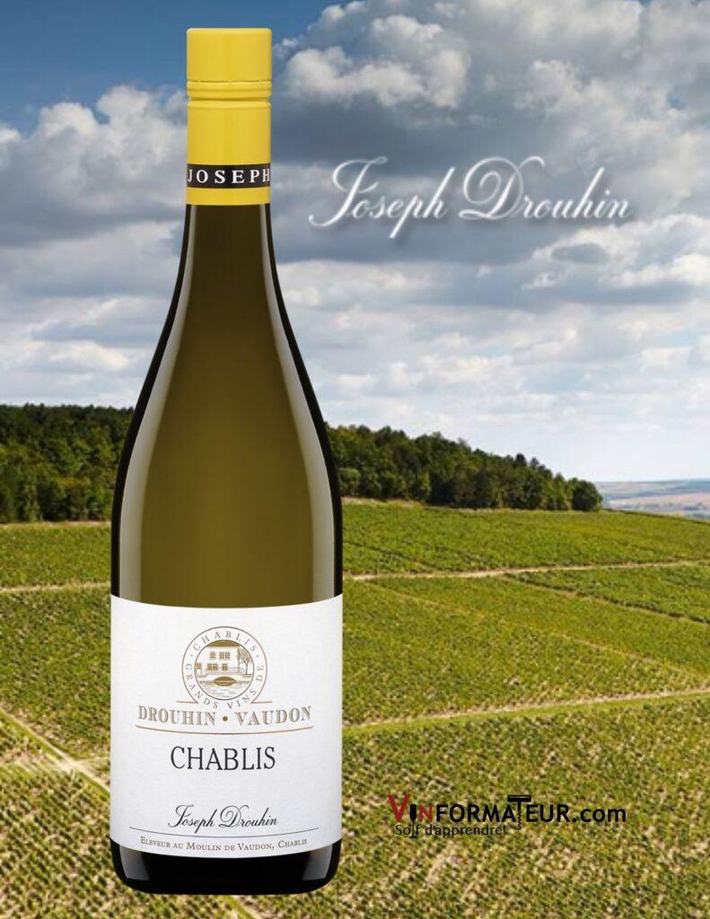 Bouteille de Chablis, Drouhin – Vaudon, Bourgogne, Appellation Villages, Joseph Drouhin, vin blanc bio, 2019 et vignobles