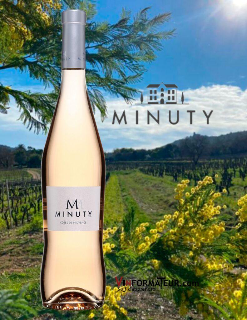 Bouteille de Minuty M de Minuty, France, Côtes de Provence, 2020 avec vignobles