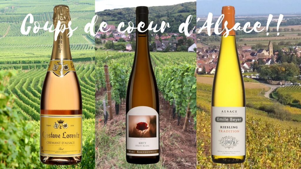 Bouteilles de Crémant Brut Gustave Lorentz Tradition, Kritt Pinot blanc Marc Kreydenweiss 2019, Riesling Emile Beyer 2019 et vignobles