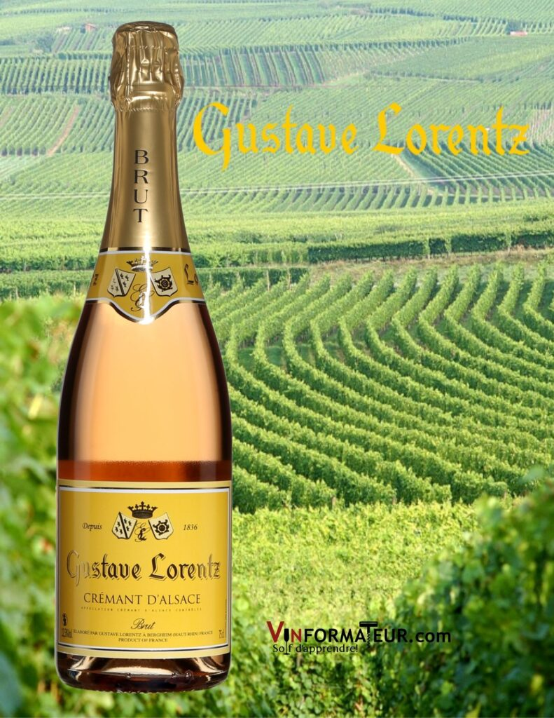 Bouteille de Gustave Lorentz, Crémant d'Alsace Brut Rosé, non millésimé et vignobles