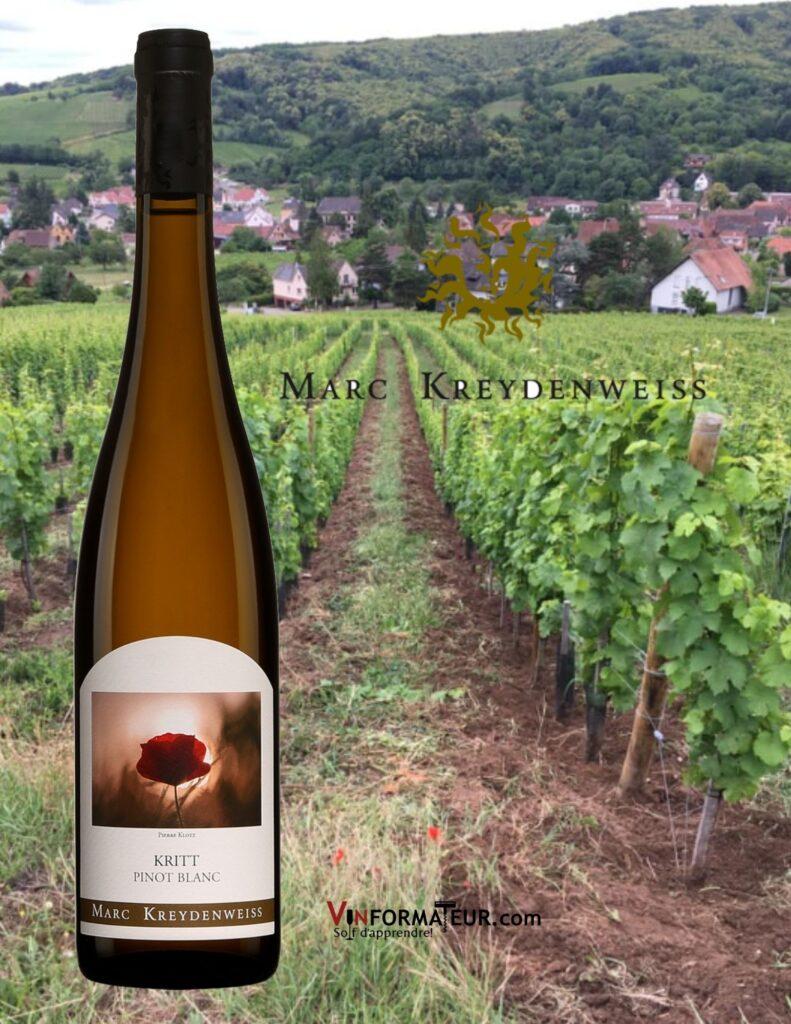 Bouteille de Kritt, Pinot blanc, France, Alsace, Marc Kreydenweiss, vin blanc bio, 2019 et vignobles