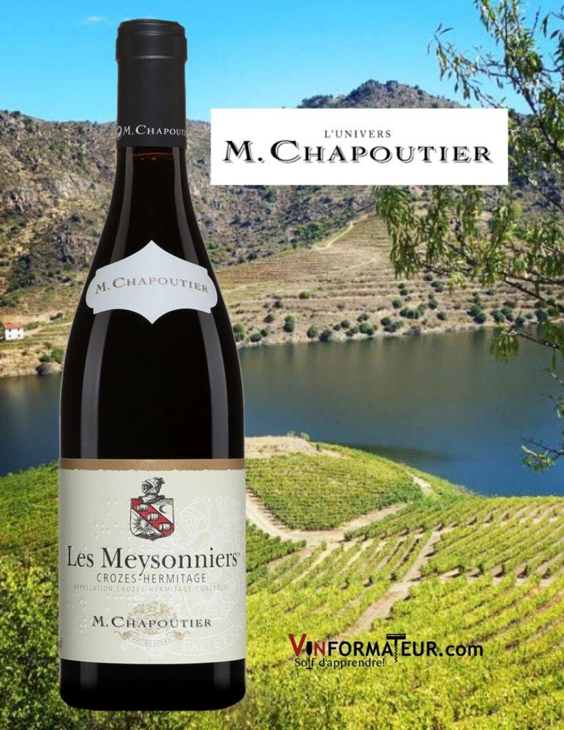 Bouteille de Les Meysonniers, France, Côtes du Rhône septentrionale, Crozes-Hermitage, vin rouge bio, 2018 avec vignobles