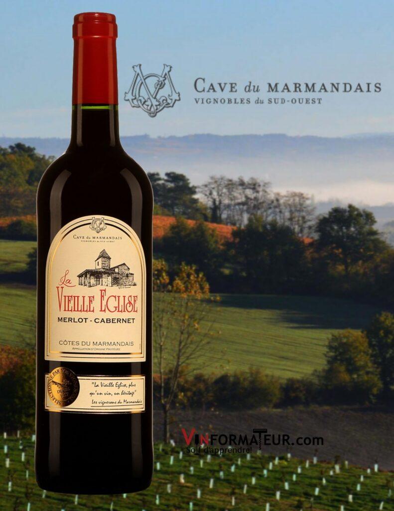 Bouteille de La Vieille Église, France, Sud-Ouest, Côtes du Marmandais, vin rouge, 2019 avec vignobles