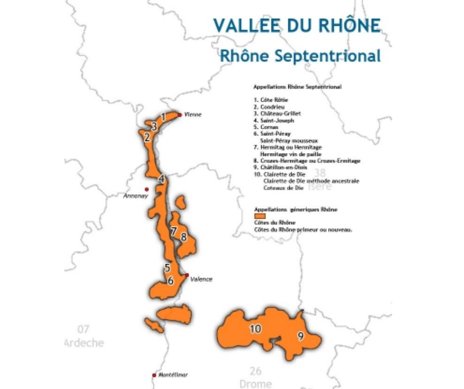 Carte viticole Vallée du Rhône septentrionale