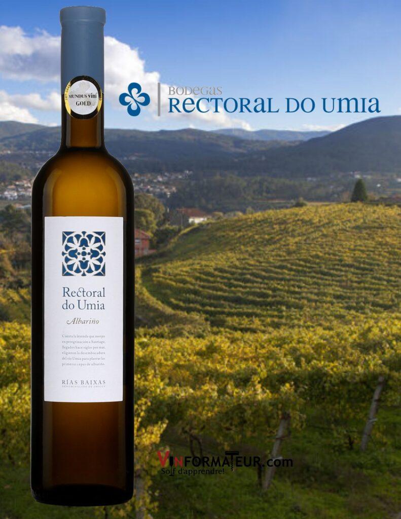 Bouteille de Rectoral do Umia , Abarino, Espagne, Rias Baixas, vin blanc, 2020 et vignobles