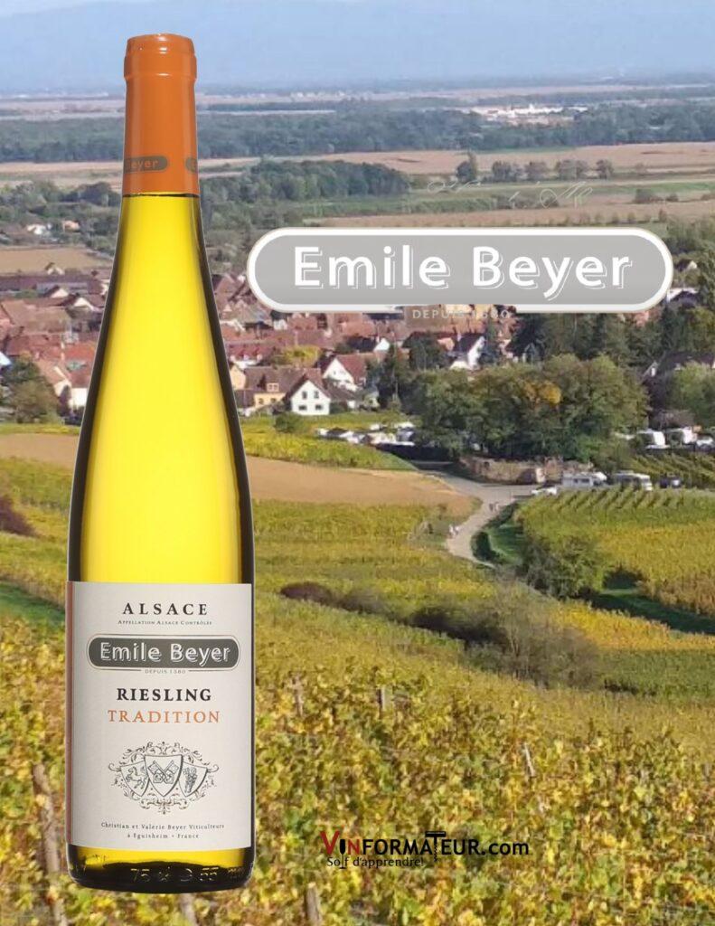 Bouteille de Riesling, Emile Beyer,Tradition, France, Alsace, vin blanc bio, 2019 et vignobles