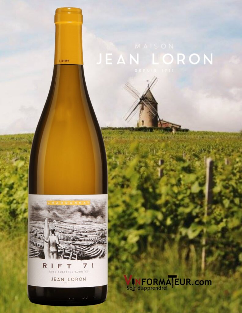 Bouteille de Rift 71, Chardonnay, Jean Loron, Mâcon-Villages, vin blanc sans soufre ajouté, 2020 et vignobles