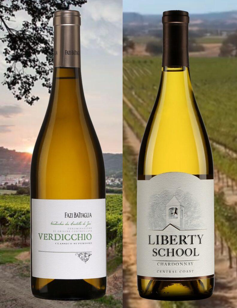 Deux bouteilles de Verdicchio dei Castelli di Jesi Classico Fazi Battaglia 2020, Liberty School Chardonnay Central Coast 2018 avec vignobles