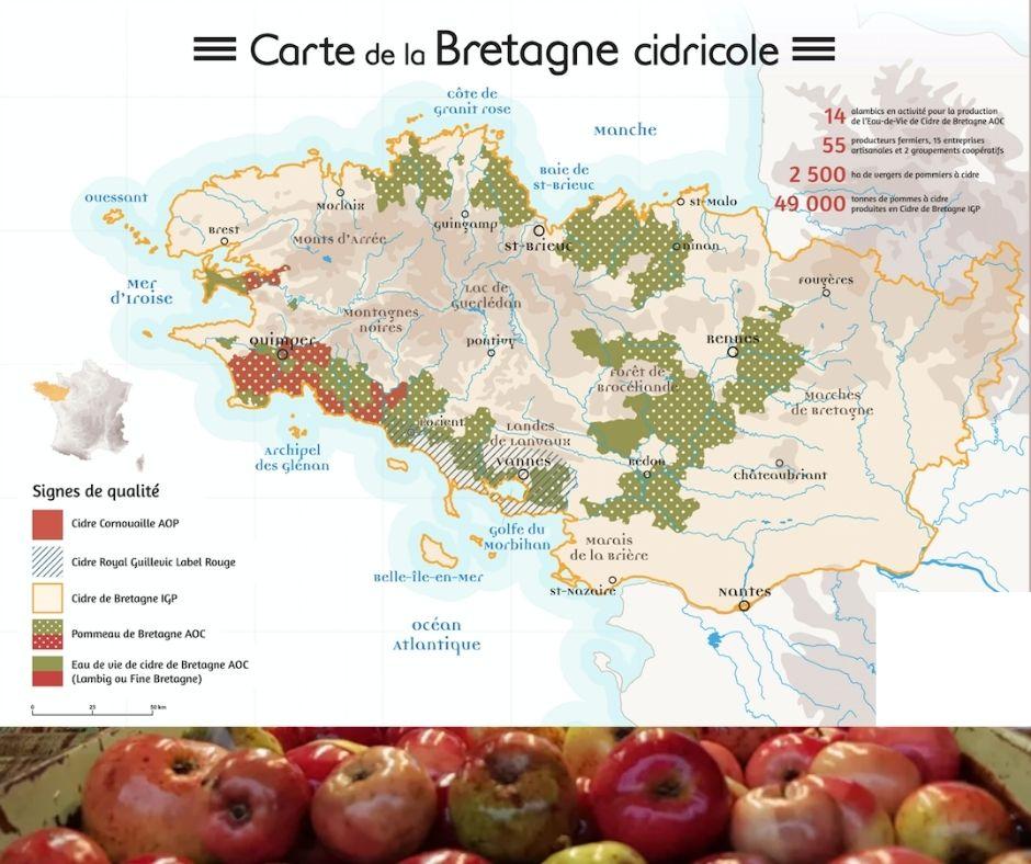 Carte cidricole de Bretagne