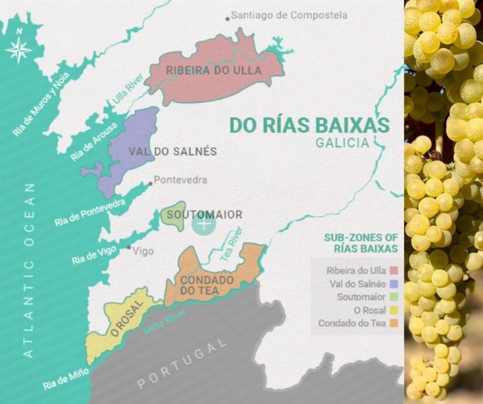 Carte viticole de la Galice, Espagne