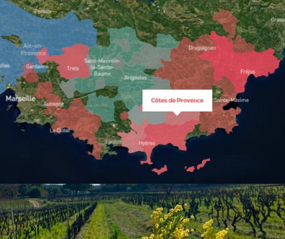 Carte viticole Côtes de Provence