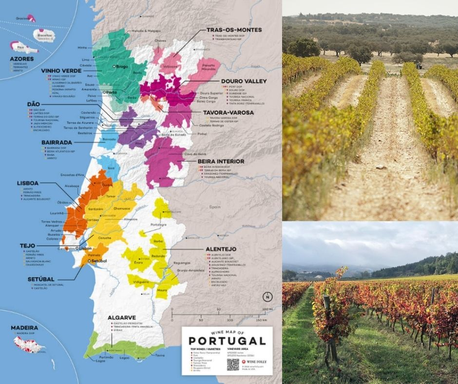 Carte viticole du Portugal - vignobles, winefolly.com