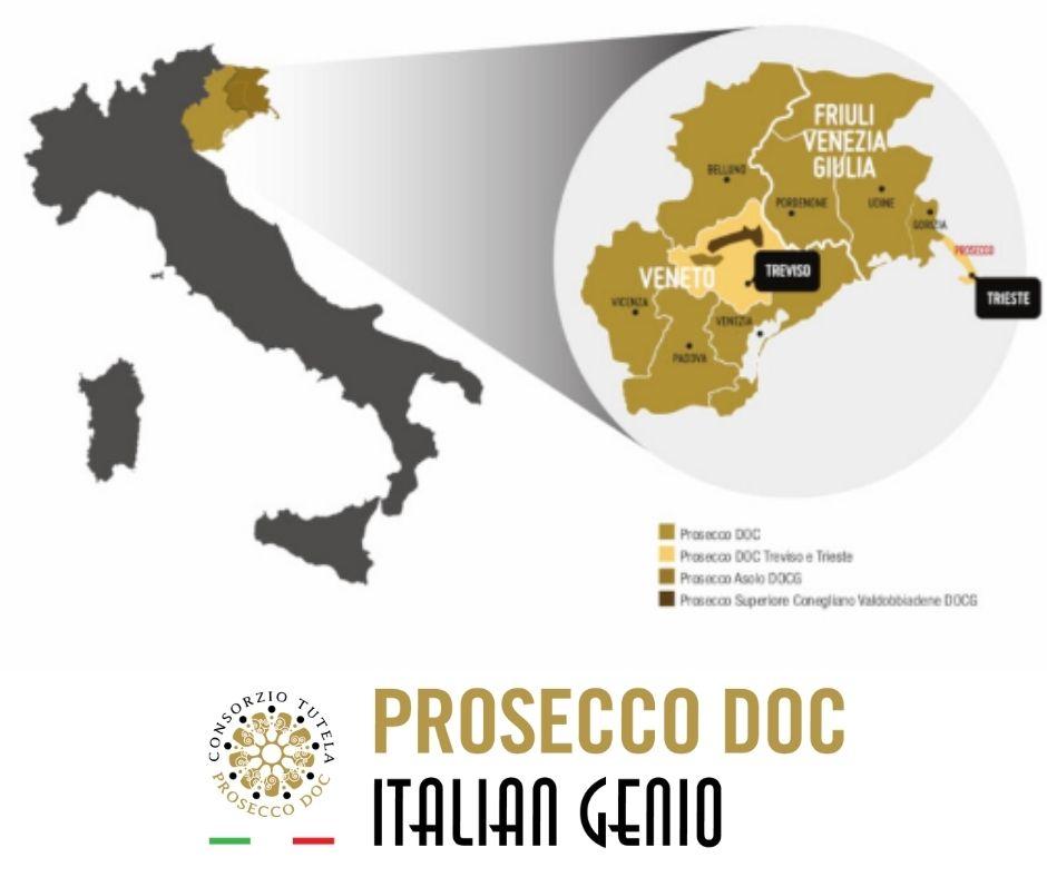 Carte viticole de l'appellation Prosecco DOC